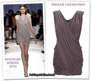 Vestido de Givenchy, clonado por French Connection